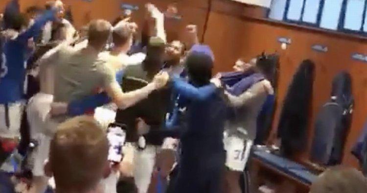 Rangers stars belt out Alfredo Morelos anthem in dressing room party