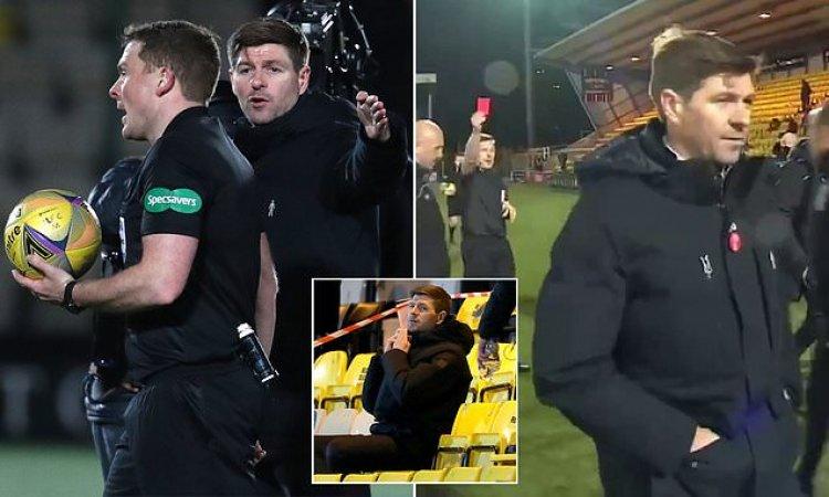Rangers boss Steven Gerrard sent off at half-time in Livingston clash
