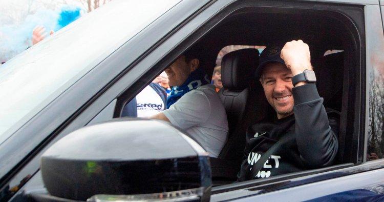 Steve Gerrard pictured celebrating Rangers title win as fans defy lockdown